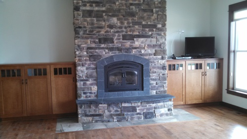 View more photos of Custom Waterfront Home Project Part IV - Fireplace and Kitchen